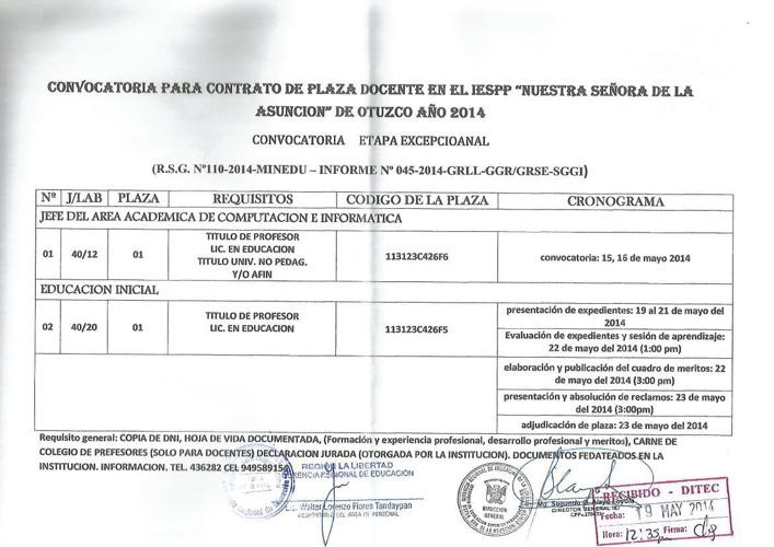 Conv_IESPP_Nuestra Señora de la Asunción de Otuzco_2014