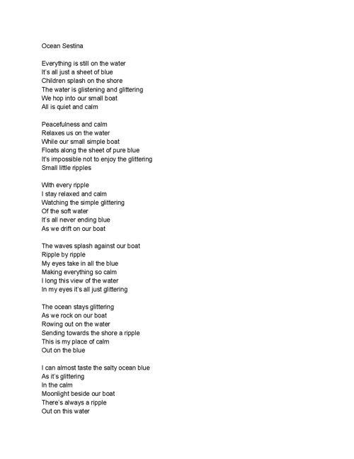 Sestina Poem Final