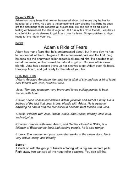 One Act Play-Adam's Ride of Fears
