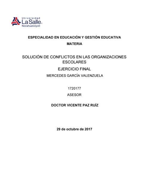 SOLUCIÓN DE CONFLICTOS EN INSTITUCIONES EDUCATIVAS