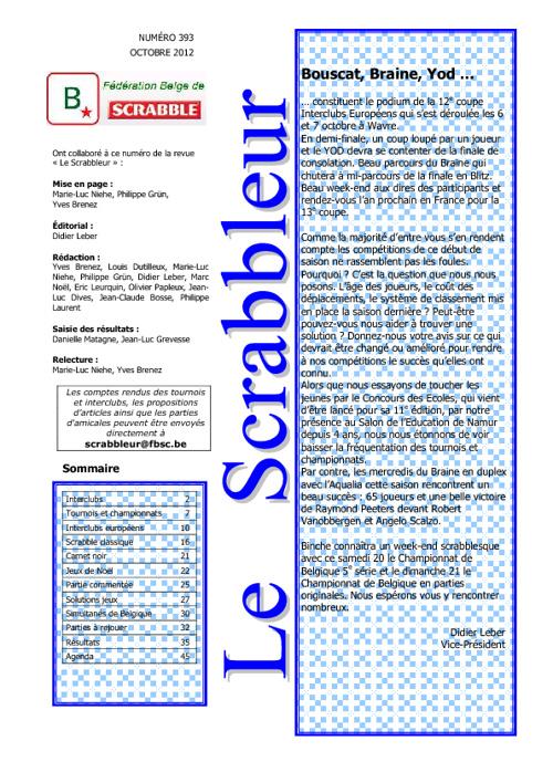 Scrabbleur Octobre 2012
