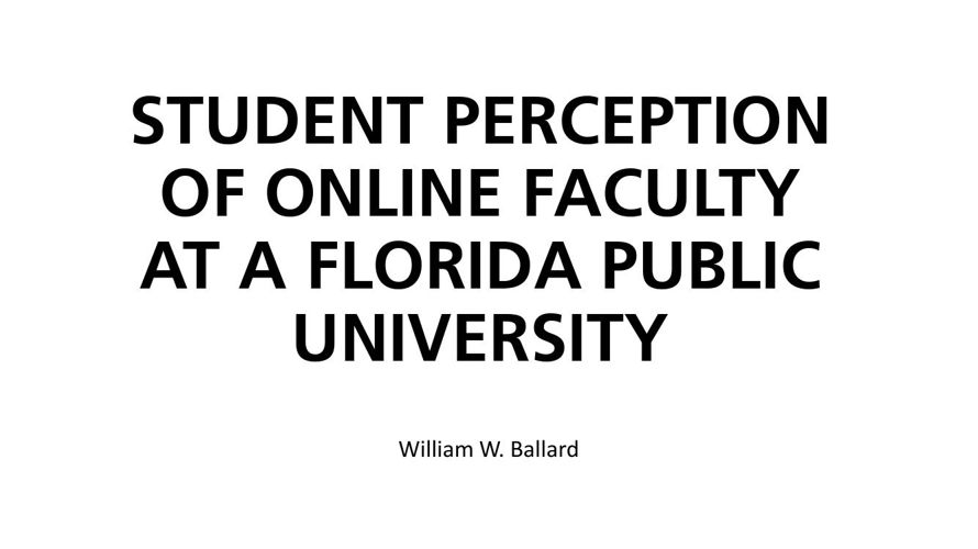 Student Perception & Faculty Training