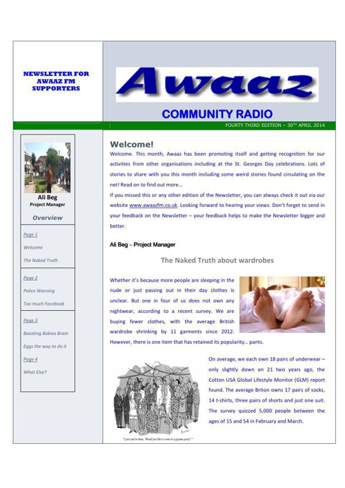 Awaaz Newsletter (May 2014)