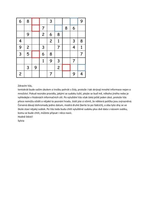 Sudoku- soutěž zadání