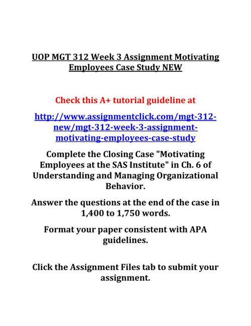 UOP MGT 312 Week 3 Assignment Motivating Employees Case Study NE