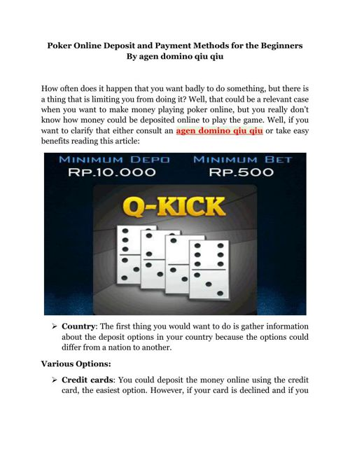 Poker Online Deposit and Payment Methods for the Beginners By ag