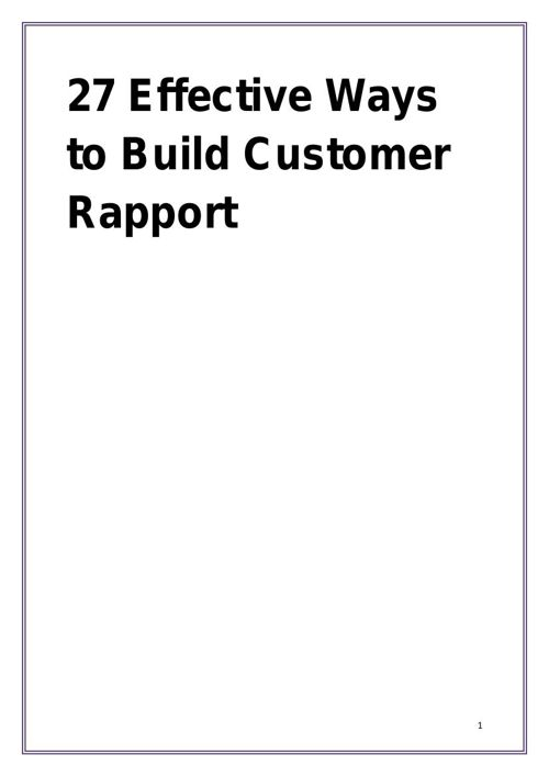27 Effective Ways to Build Customer Rapport