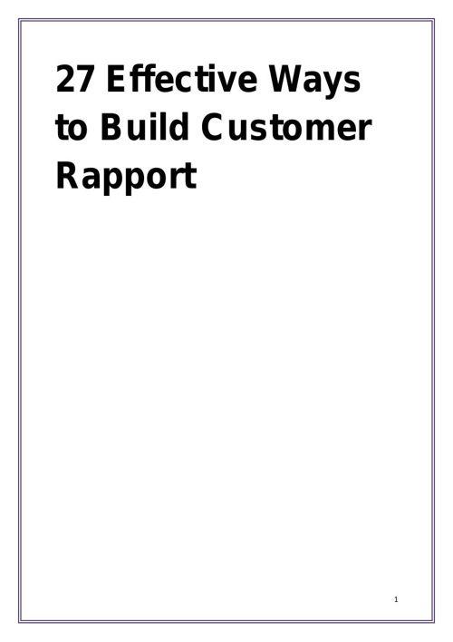 27 Effective Ways to Build Customer Rapport