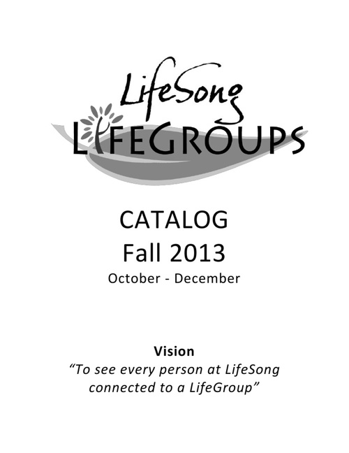 Fall Semester LifeGroups - 2013