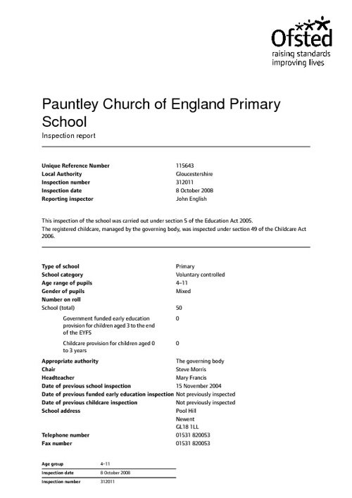 Pauntley CofE Primary School OFSTED Report 2008