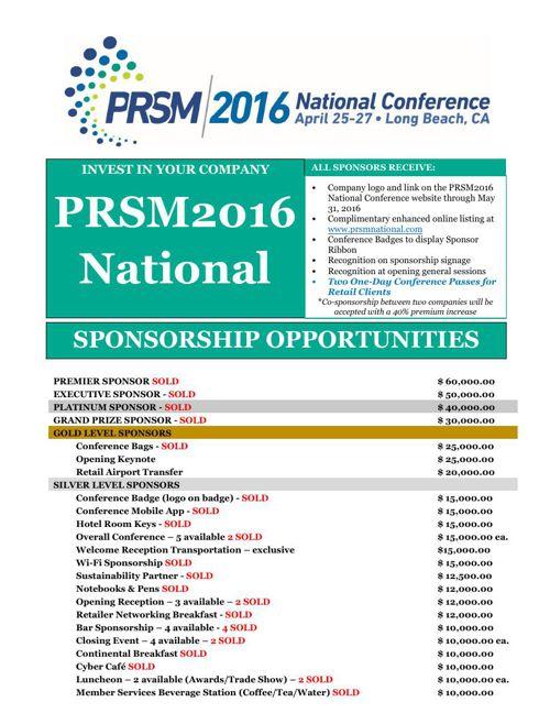 PRSM2016 Sponsorship Opportunties