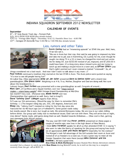 September 2012 Indiana MSTA Newsletter