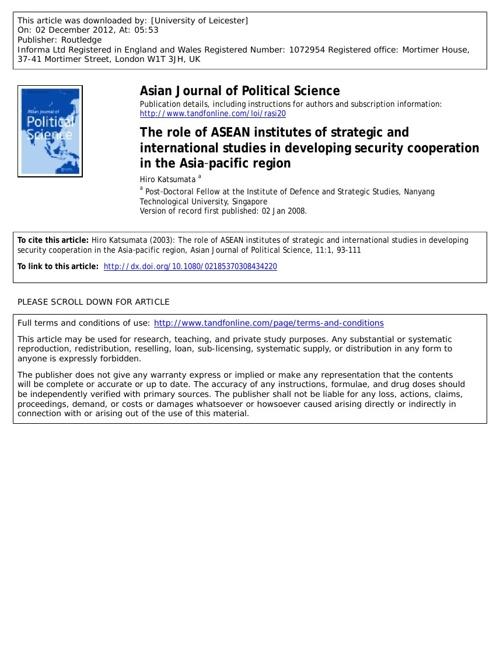 Role of ASEAN Institutes