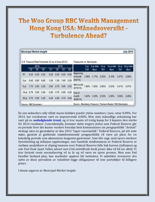 The Woo Group RBC Wealth Management Hong Kong USA: Manedsoversik