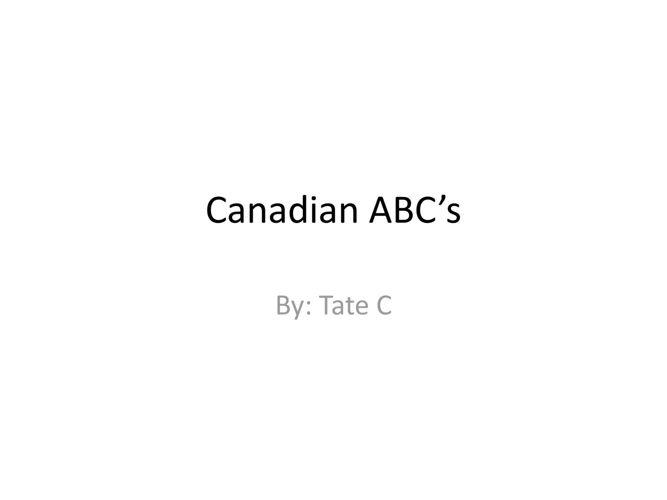 Canadian ABC's
