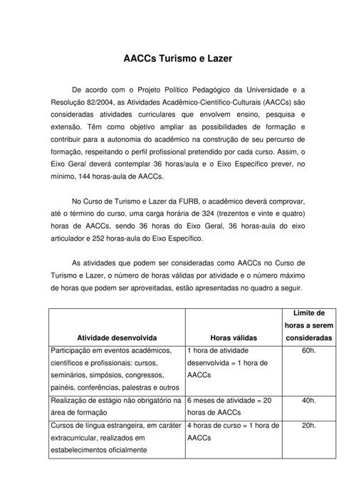 AACCs DO CURSO DE TURISMO E LAZER