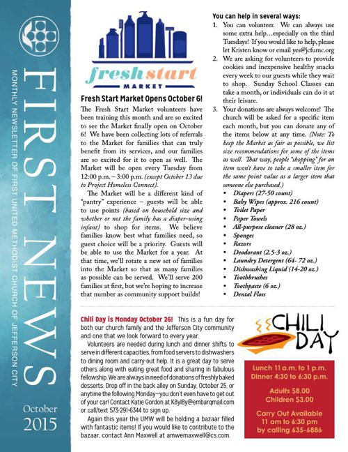 October Newsletter from First United Methodist Church