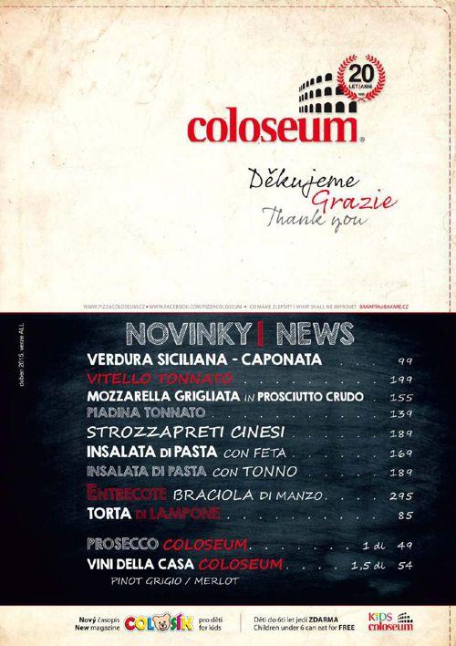 Jídelní lístek - Pizza Coloseum
