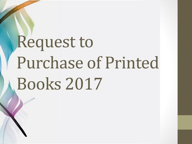 Request to Purchase of Printed Books
