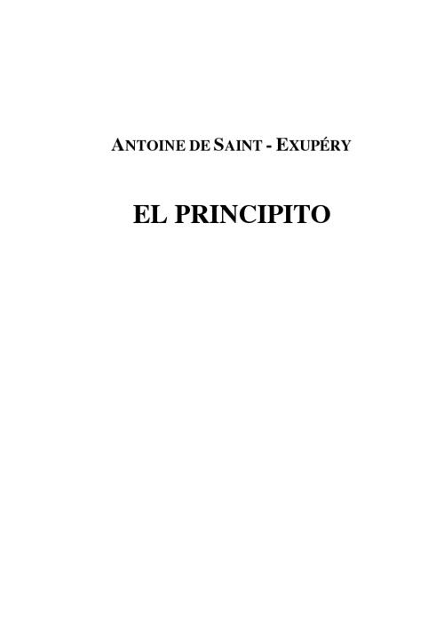 EL PRINCIPITO (ANTOINE DE SAINT-EXUPERY)