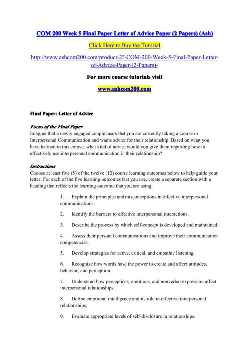 com200 week 5 final paper Com200 week 5 final paper uploaded by c classofninetyfive connect to download get docx com200 week 5 final paper download com200 week 5 final paper.