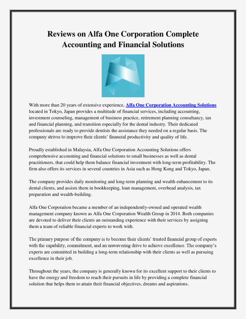 Reviews on Alfa One Corporation Complete Accounting and Financia
