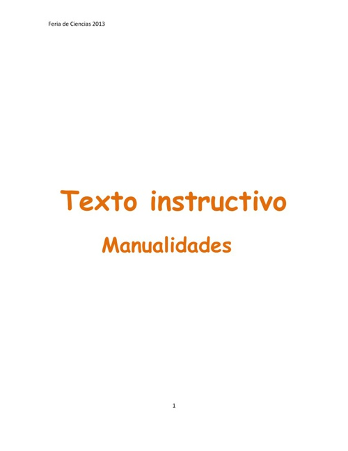 Texto instructivo. Manualidades