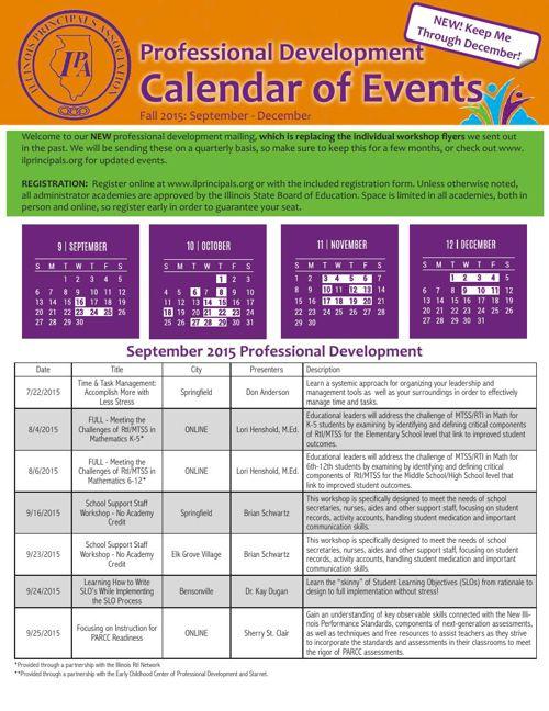 IPA Fall 2015 PD Calendar
