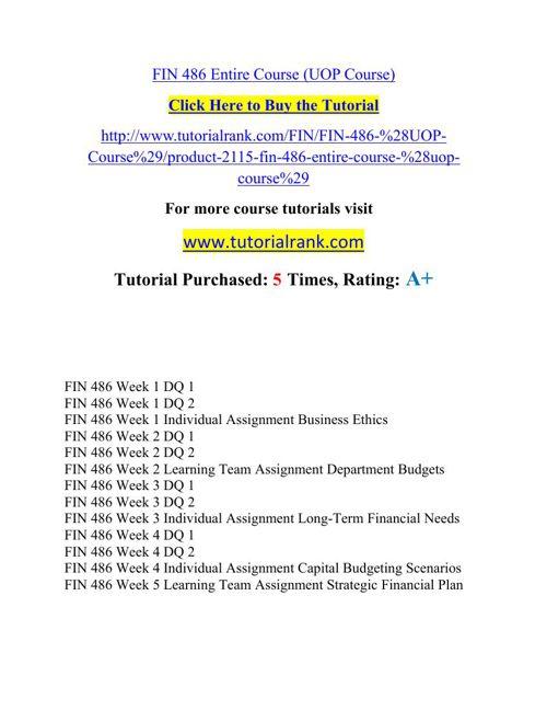 FIN 486 Potential Instructors / tutorialrank.com