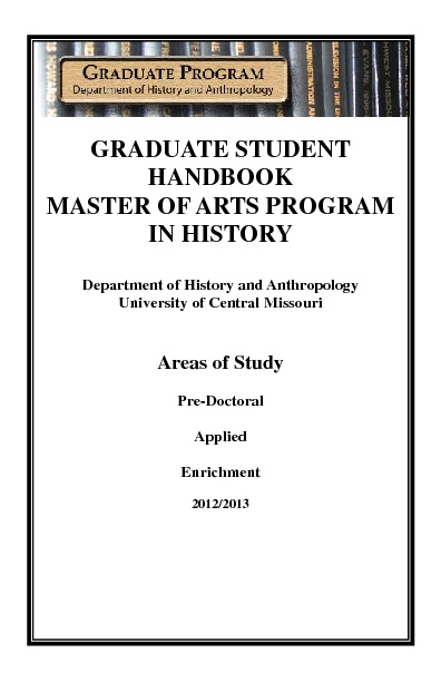 Graduate Student Handbook Master of Arts Program in History