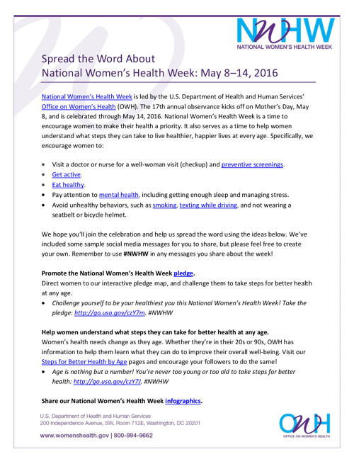 National Women's Health Week Partner Toolkit 2016