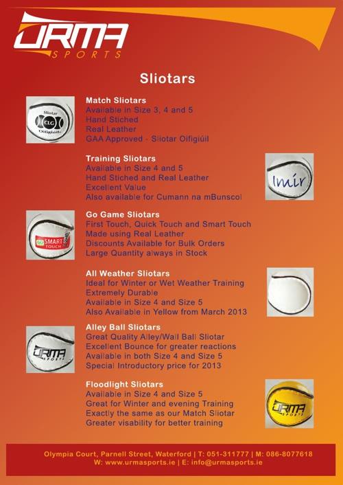 Urma Sports Catalogue January 2013