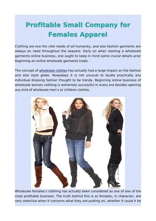 Profitable Small Company for Females Apparel