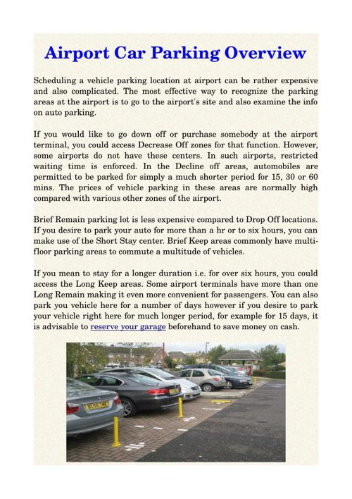 Airport Car Parking Overview