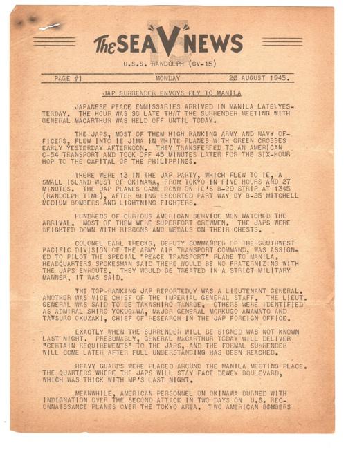 20 AUG 1945 SEA V NEWS