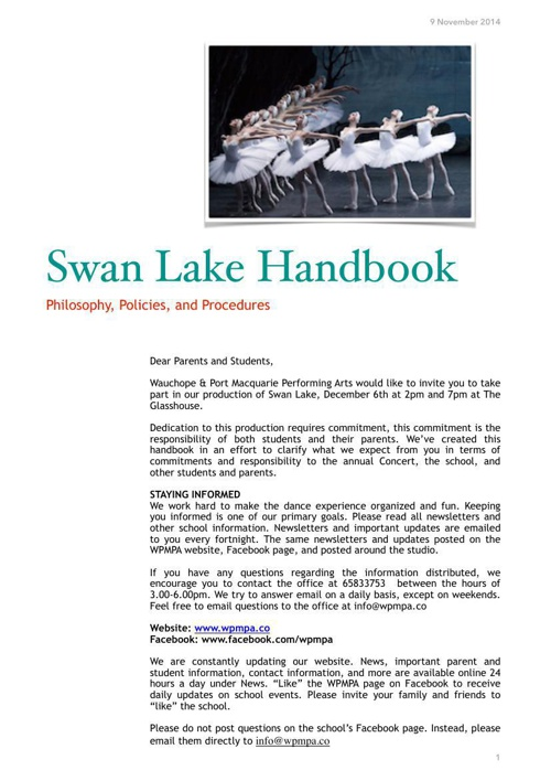 Swan Lake Handbook PDF