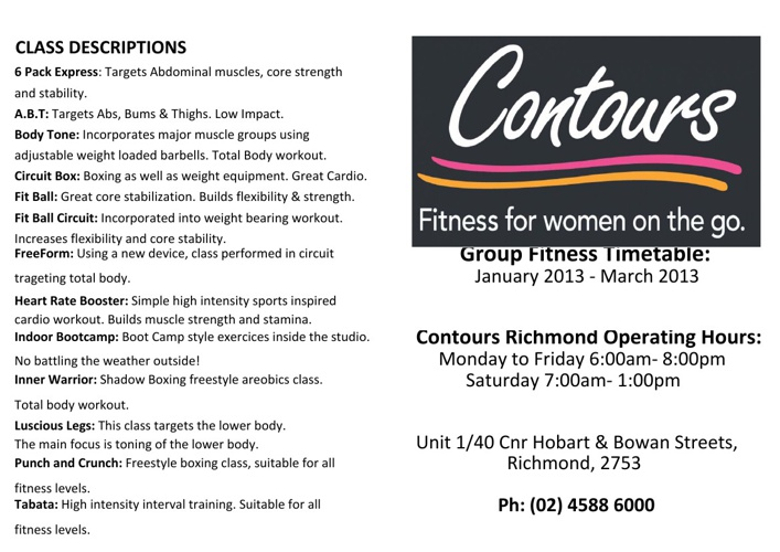 Group Exercise Timetable - Contours Richmond