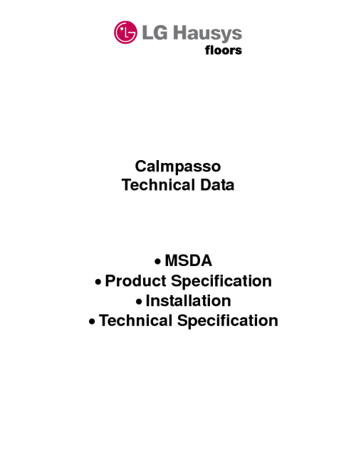 Calmpasso Technical Data