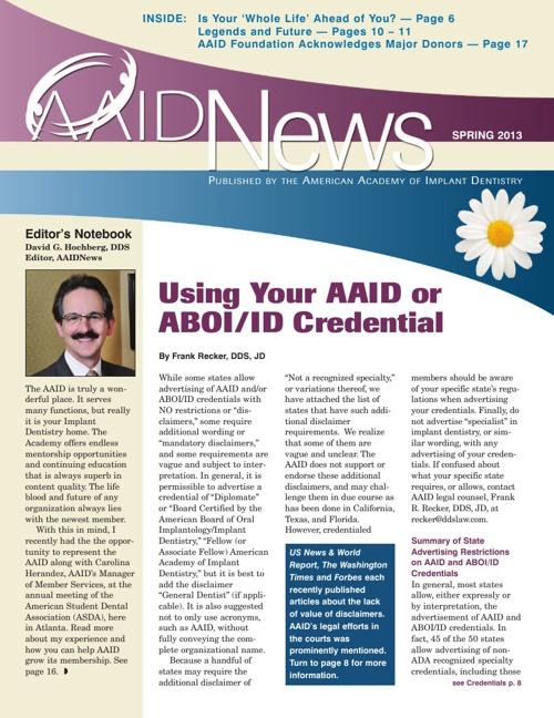 Spring 2013 AAID News