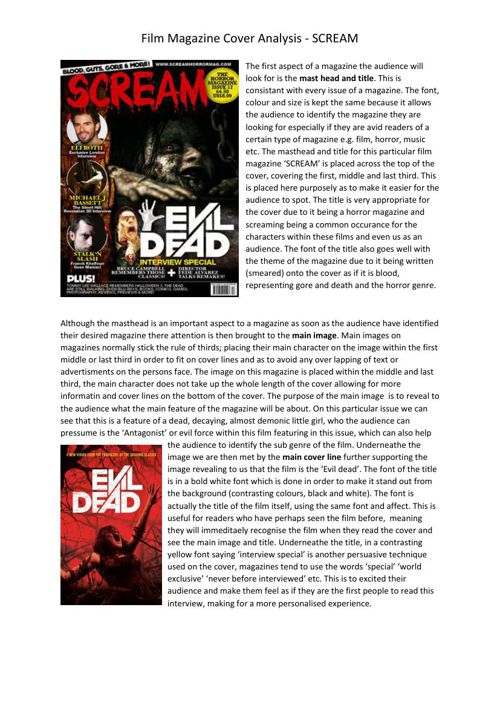 Horror Magazine cover Analysis