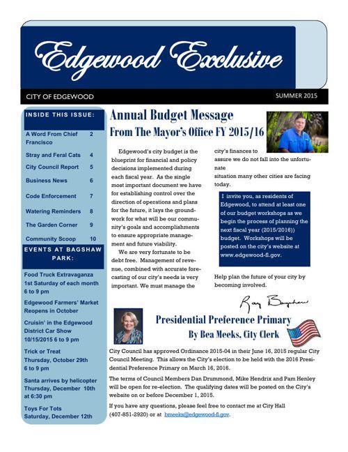 Edgewood Exclusive Summer 2015 Newsletter