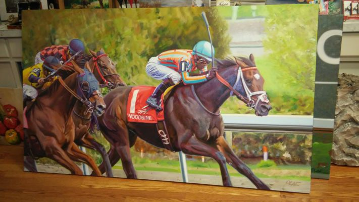 Horseracing art, original oil painting, fine art