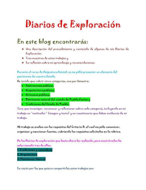 Introducción a mis Diarios de Exploración