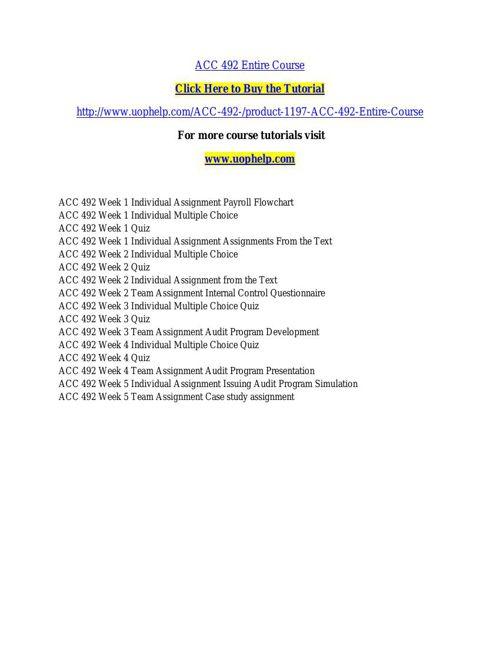 ACC 492 INSTANT EDUCATION / UOPHELP