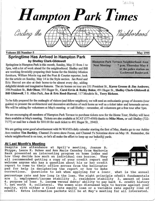HPT Newsletter May 1995