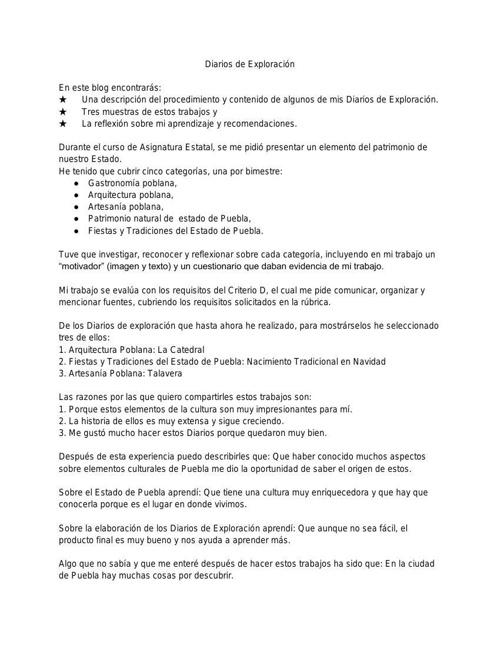 INTRODUCCIÓN DIARIOS DE EXPLORACIÓN BLOG ASIGNATURA