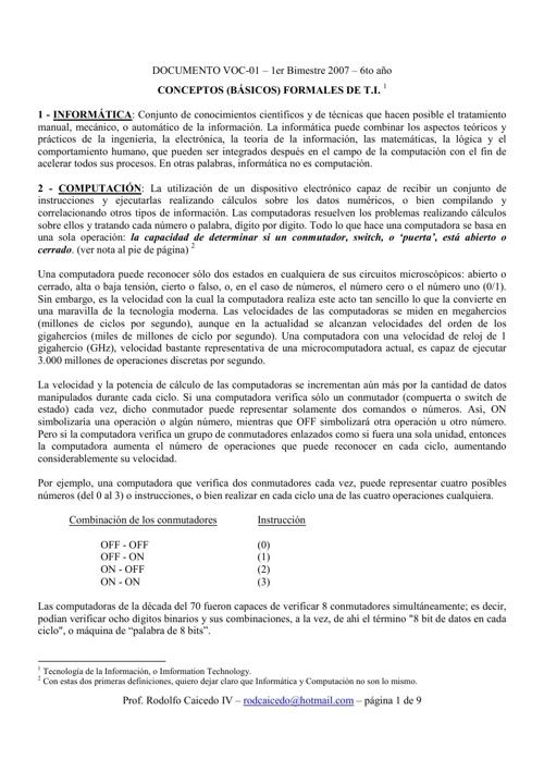 Tecnología de la Información - VOC 01 - 2013