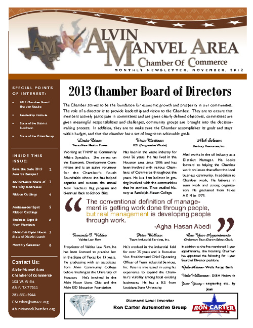 AMACC November 2012 newsletter