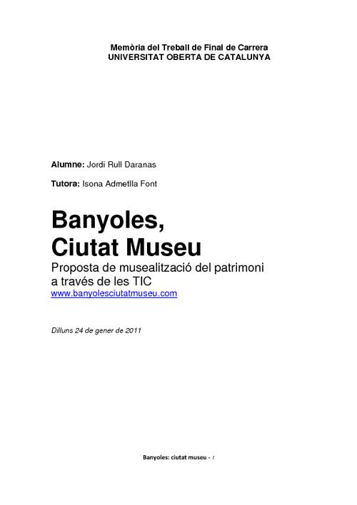Banyoles, Ciutat Museu (Treball de Final de Carrera)