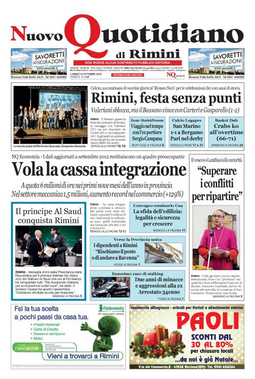 Nuovo Quotidiano di Rimini 15 ottobre